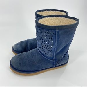 UGG Navy Classic Short Sunshine Perf Suede Boots 7